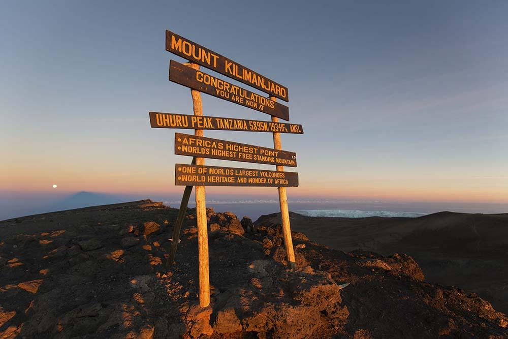 51358023 - uhuru peak highest summit on mount kilimanjaro in tanzania, africa.